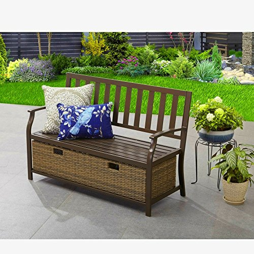 Porch Storage Bench Patio Veranda Loveseat with Storage Wicker Large Basket Coated Frame Rustproof Lawn Garden Backyard Deck Furniture Weatherproof Resistant Seat & eBook by BADA shop by BS
