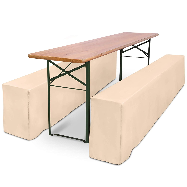 Housse de Banc 220x25cm Ecru Beautissu Basic L Nappe Housse de Table 220x50cm Mariage f/ête Banquet c/ér/émonie