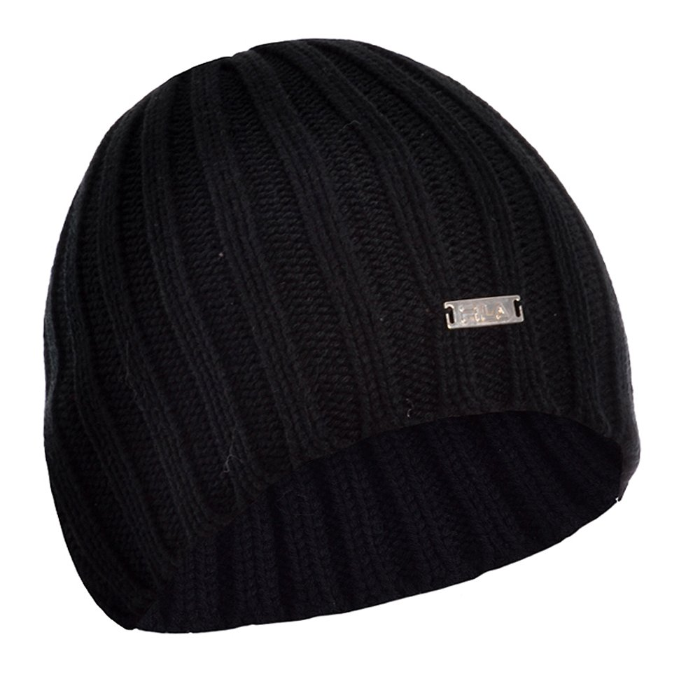 FILA Chunky Cable Knit Winter Woolly Beanie Black Hat � One Size � Mens - Womens