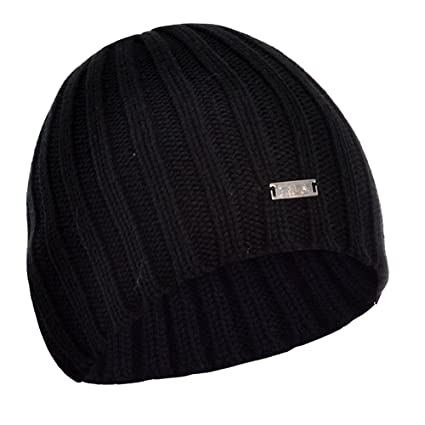 FILA Chunky Cable Knit Winter Woolly Beanie Hat - Black  Amazon.co.uk   Clothing c4c204a9382