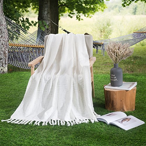 50 Percent Blanket - HollyHOME 100% Cotton Throw Blanket 50x60 Soft All Season Blanket for Bed or Couch