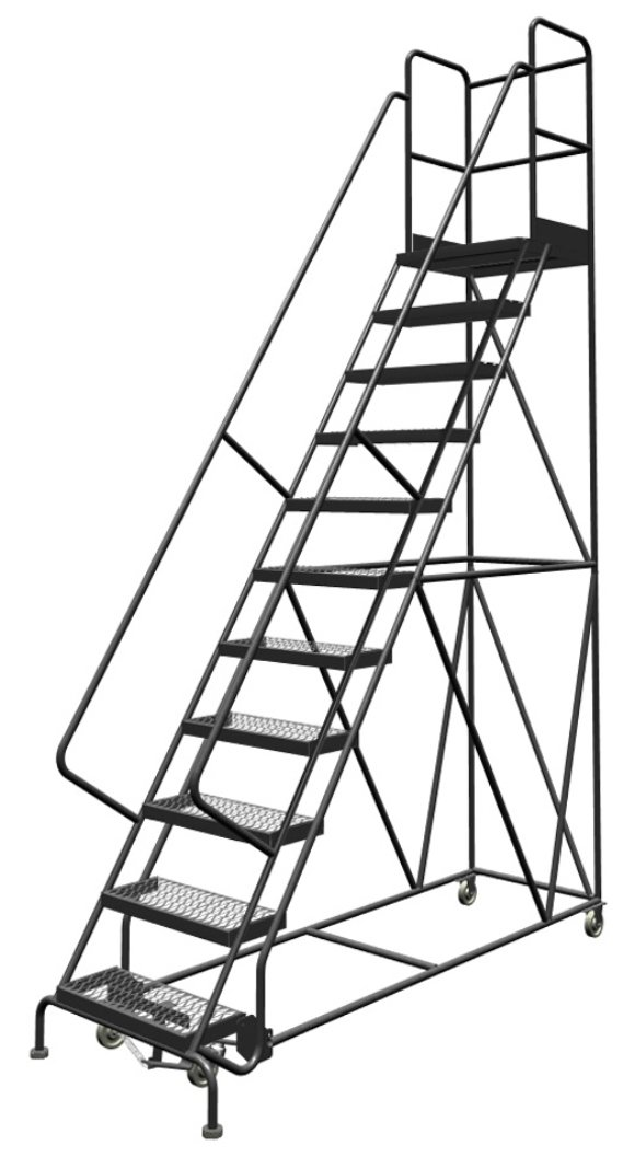 Tri-Arc KDSR111242-D2 11-Step 20'' Deep Top Steel Rolling Industrial & Warehouse Ladder with Handrails, 24'' Wide Grip Strut Tread