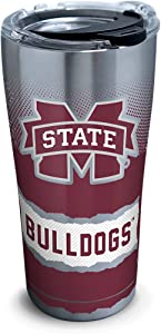 Tervis 1277172 Mississippi State Bulldogs Knockout Stainless Steel Tumbler with Clear and Black Hammer Lid 20oz, Silver