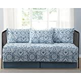 Marcello Blue Scroll Printed 5-Piece Day Bed Set, Bedskirt Included