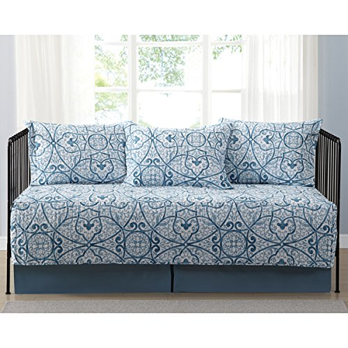 Marcello Blue Scroll Printed 5-Piece Day Bed Set, Bedskirt Included by Truly Soft Everyday