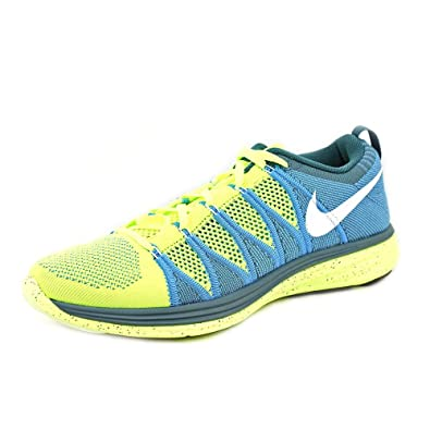 Nike Flyknit Lunar 2 Mens Volt/White-Blue Glow-Night Factor Running Sneakers