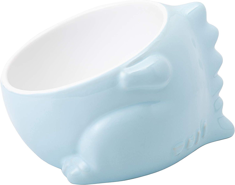 Wuli Raised Cat Bowl Elevated Stress-Free Pet Food Water Feeder – Tilted Anti-Spill Heavy Anti-Knock Over Designer Rare Animal Series (Blue Dinosaur)