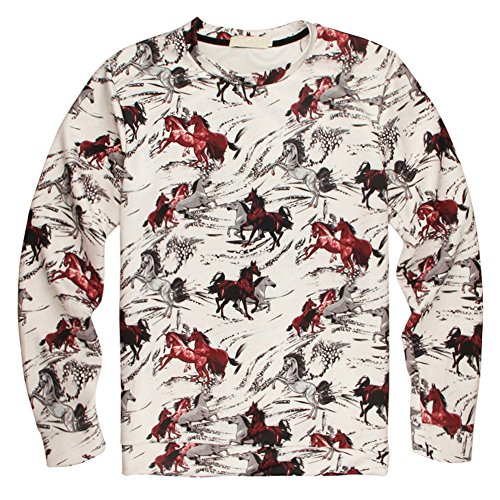 Sweaters 3D Animal Print Swift Maxima Graphic Horses Pullover Sweatshirts (XL)