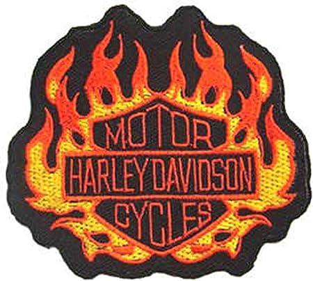 Harley Davidson Flammen On Sew Iron On Patch Biker Chopper Bobber Badge Hog Küche Haushalt