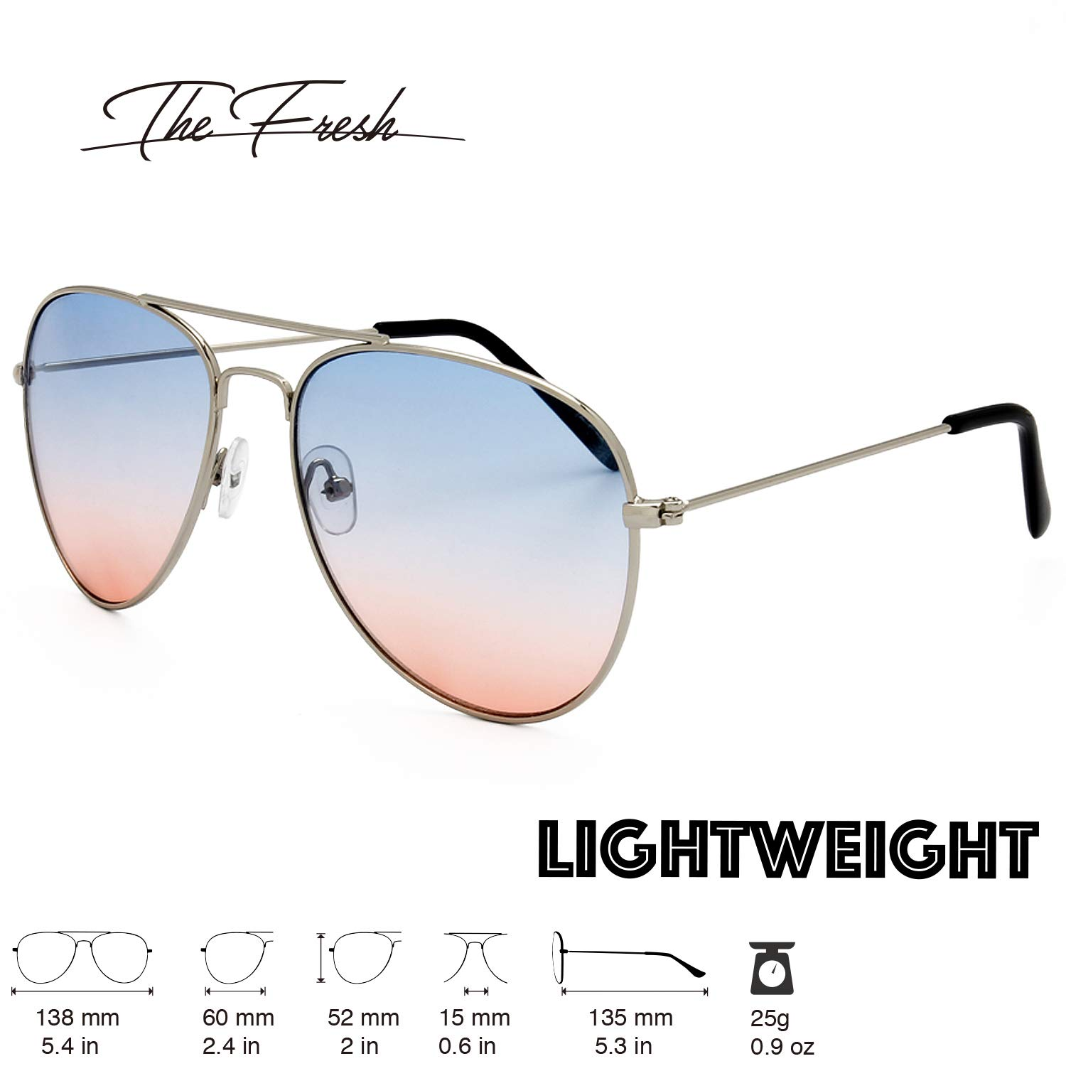 c2379fbb1e67e Amazon.com  The Fresh Classic Large Metal Frame Oceanic Color Lens Aviator  Sunglasses with Gift Box (Silver