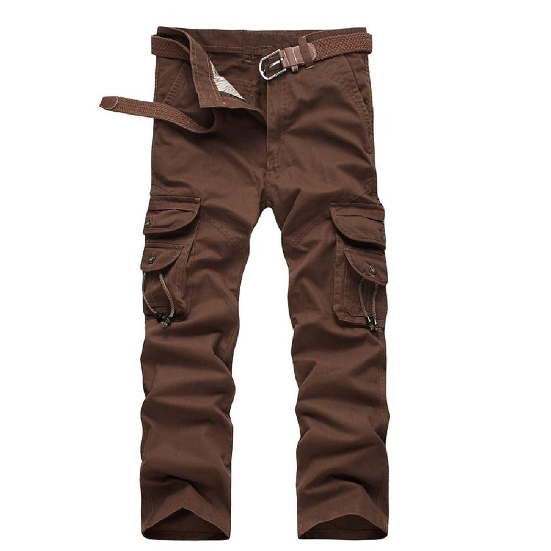 Mens Cargo Trousers More Pockets Zipper Pants Outdoors Overalls Big Size Pants