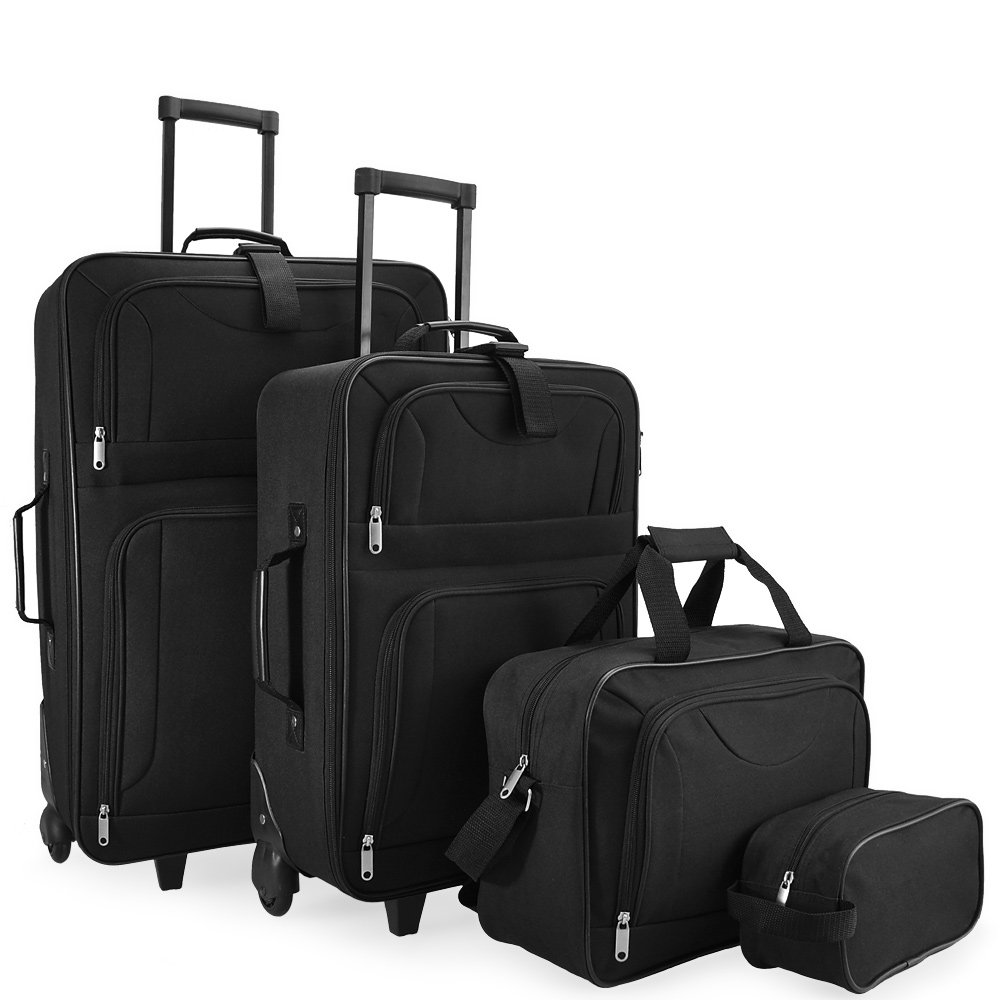 4pcs Trolley Set Travel Suitcase Baggage Luggage Vanity Bag Soft Shell Wheeled Holdall Lightweight Cabin Case - Storable in each other Deuba