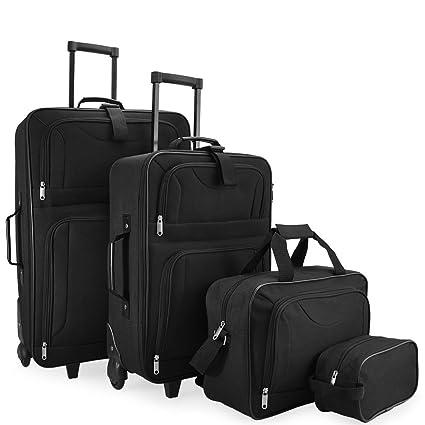 109b48b03 4 Pcs Suitcase Set Trolley Travel Bags Softshell Luggage Lightweight Spinner  Telescopic Handle Wheeled Expandable Black: Amazon.co.uk: Luggage