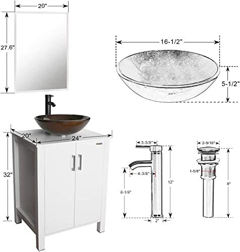 24 Bathroom Vanity and Sink Comb,Bathroom Vanity Top With Glass Vessel Sink, MDF-Board,Bathroom Cabinet with Mirror,Glass Vessel Sink with ORB Finish Faucet, INCL Mounting Ring,Drain U-Eway White