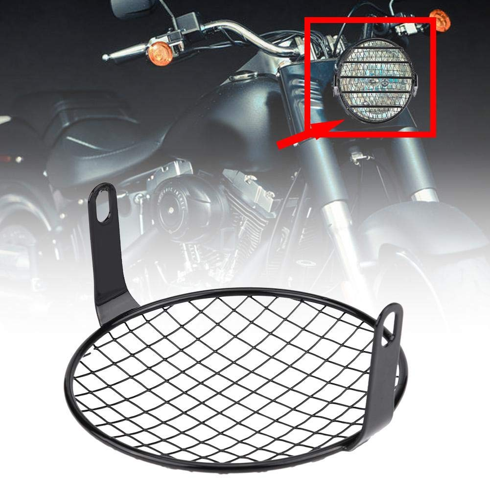 checks Motorcycle Headlight Grill Cover 6.5 Motorcycle Side Mount Headlight Round Grill Cover Motorcycle Headlamp Cover Mask Screen Protector for Motorbikes Cruiser Chopper Cafe Racer #2