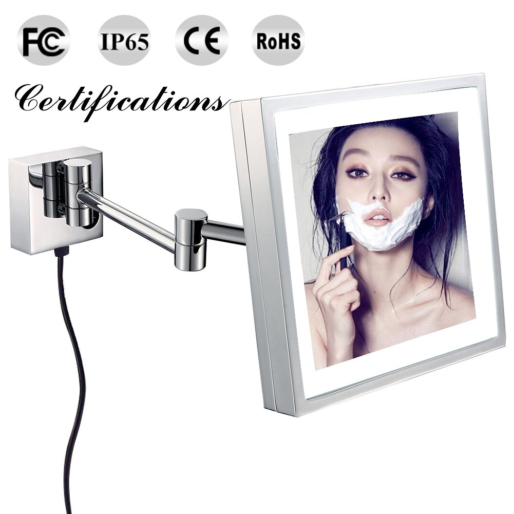 GURUN Square Clear Makeup Mirrors with LED Lighted,3x Magnification,8.5 inch,Chrome Finished M1802D(8.5in,3x) (Wall mounted, Touch)