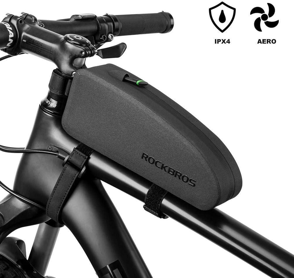 ROCKBROS Bolsa Cuadro de Manillar Tubo Superior Impermeable Capacidad 1L//1,6L para Bicicletas MTB Bici de Carretera Bici Plegable Negro
