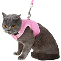 Escape Proof Cat Harness with Leash - Holster Style Adjustable Soft Mesh - Best for Walking Pink Small