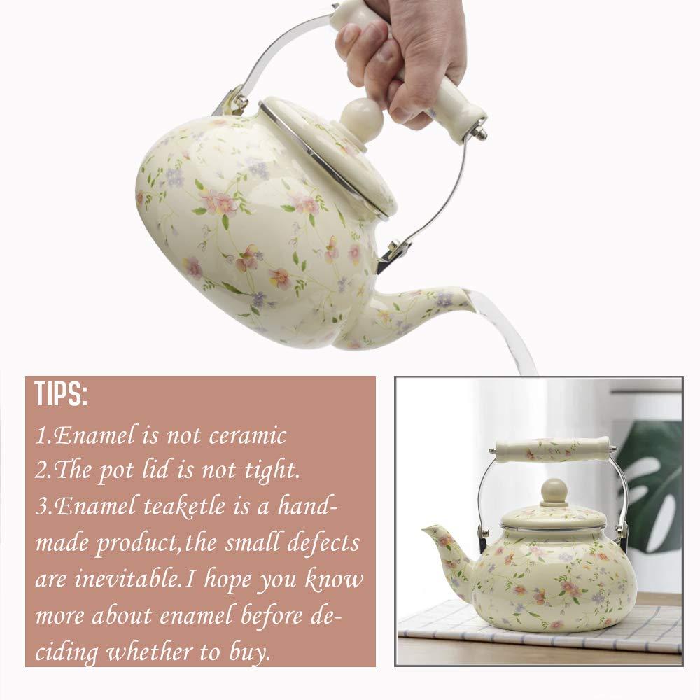 Enamel on Steel Tea Kettle, Porcelain Enameled Teapot, Halogen Induction Cooker Coffee Pot for Stovetop Retro Classic Design 2.5Qt Capacity by Alistar99 (Image #6)