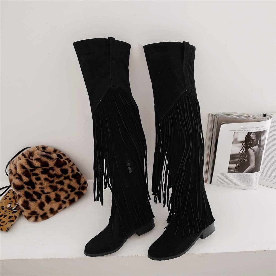 Artfaerie Bottes Indiennes Femme /à Frange Hautes Cuissardes Plates Talon Carr/é Bloc Chunky Thigh High Boots Long Chaussure Fermeture Eclair Hiver Winter
