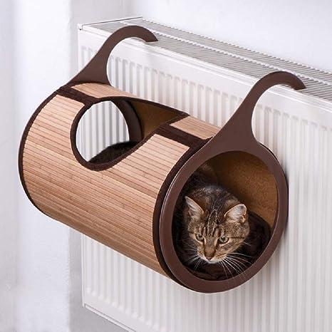 Bambú Radiador cama para gatos acogedor lugar para esconderse detrás