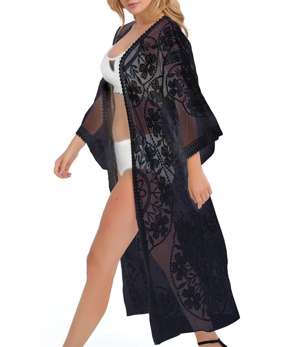 ESPRELA Women Swimsuit Cover up Bathing Suit Kimono Beach Dress Swim Coverup (One Size, Black)