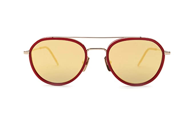 c13c5dd2f37 Amazon.com  THOM BROWNE TB-801-D-GLD-RED-51-Z Sunglasses 12K Gold - Red G-15  - Gold Mirror - AR 51mm  Clothing