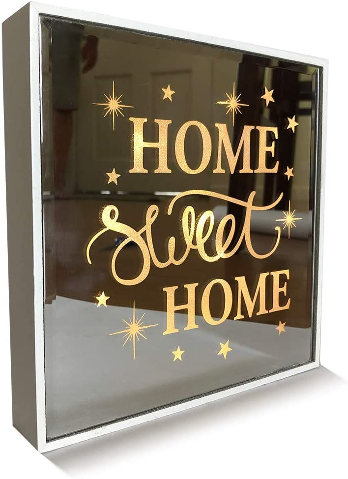 KINIA Home Sweet Home Light Up LED Marquee Wall Hanging Decor Plaque Mirror Sign