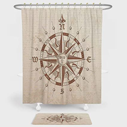 Amazon Com Compass Shower Curtain And Floor Mat Combination Set Old