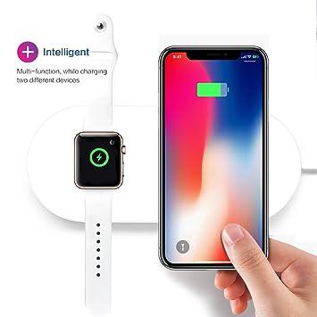 Cargador Inalámbrico Estándar Qi-Certified y Reloj Cargador Inalámbrico 2-en-1 para Iwatch Iphone 8/8 Plus IphoneX NOTE8 Multifuncional