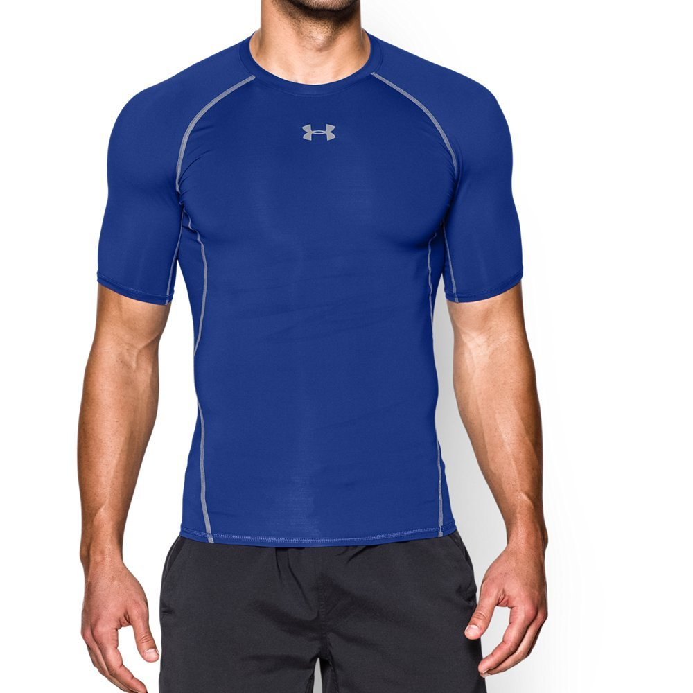 Under Armour mens HeatGear Armour Short Sleeve Compression T-Shirt, Royal (400)/Steel, Medium