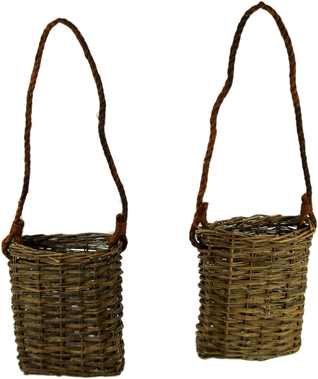 A&B Home Weaved Wicker Hanging Baskets with Rope Hanger Set of 2