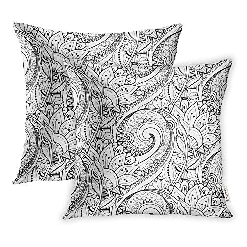 Emvency Pack of 2 Throw Pillow Covers Print Polyester Zippered Page Monochrome Floral Pattern Flowers Coloring Book Adult Pillowcase 16x16 Square Decor for Home Bed Couch Sofa