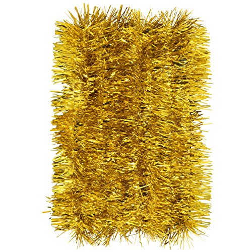 Gift Boutique Christmas Tinsel Garland Decorations, Set of 4 for Home Indoor and Outdoor Holiday Party Supplies 48 Feet of Red Green Gold and Silver Hanging Banners