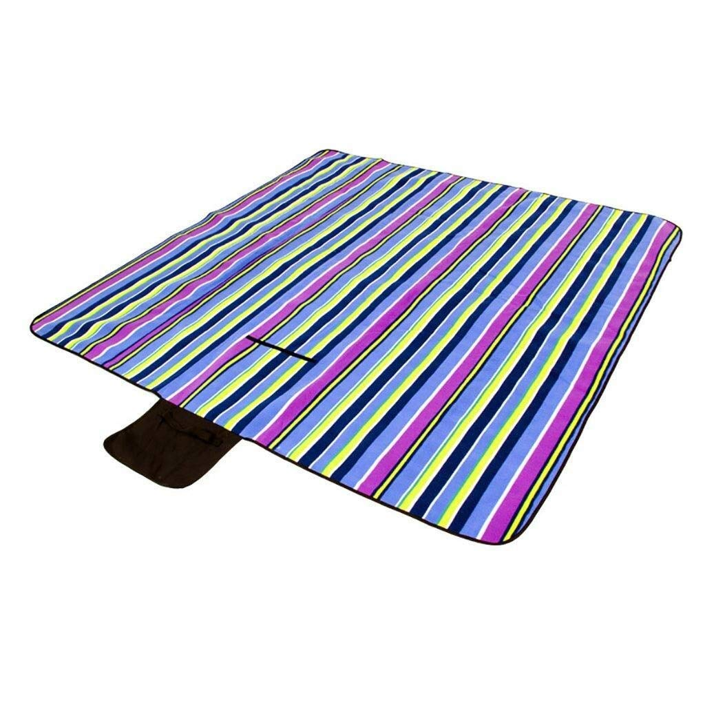 ZKKWLL Picnic Blanket Picnic Mat Folding Picnic Blanket Fleece Waterproof Backing Travel Picnic Rug Outdoor, Beach, Camping with Handle - Blue Plaid Beach mat by ZKKWLL