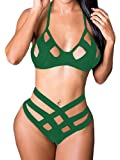 Bigyonger Women's Spaghetti Straps Bandage Bikini Suit Sexy Hollow Out Swimsuit