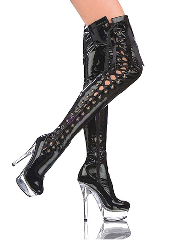 Ruby-Fashion Sexy Plateau Overknee Lack Stiefel Stiletto High Heels Boots Luxus Damen Schuhe Langschaft Gothic...