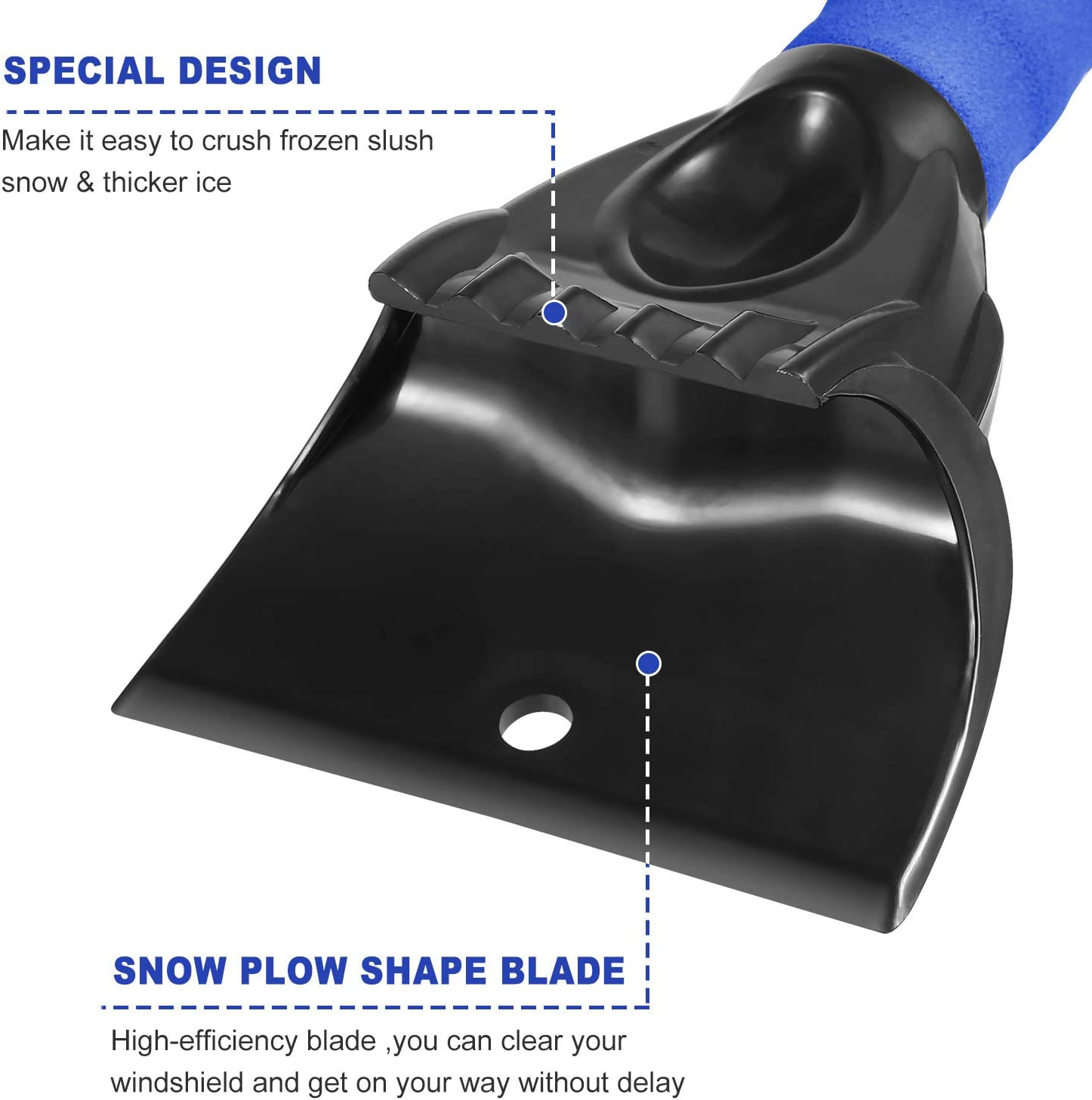 Mudder Ice Scraper with Snow Brush for Cars with Foam Handle Frost and Snow Removal Tools for Car Auto SUV Truck Windshield Windows