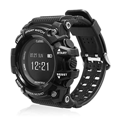 ColMi T1 Smart Wristwatch OLED Display Heart Rate Monitor Waterproof Push Message Call Reminder for Android for iOS Phone (Black)