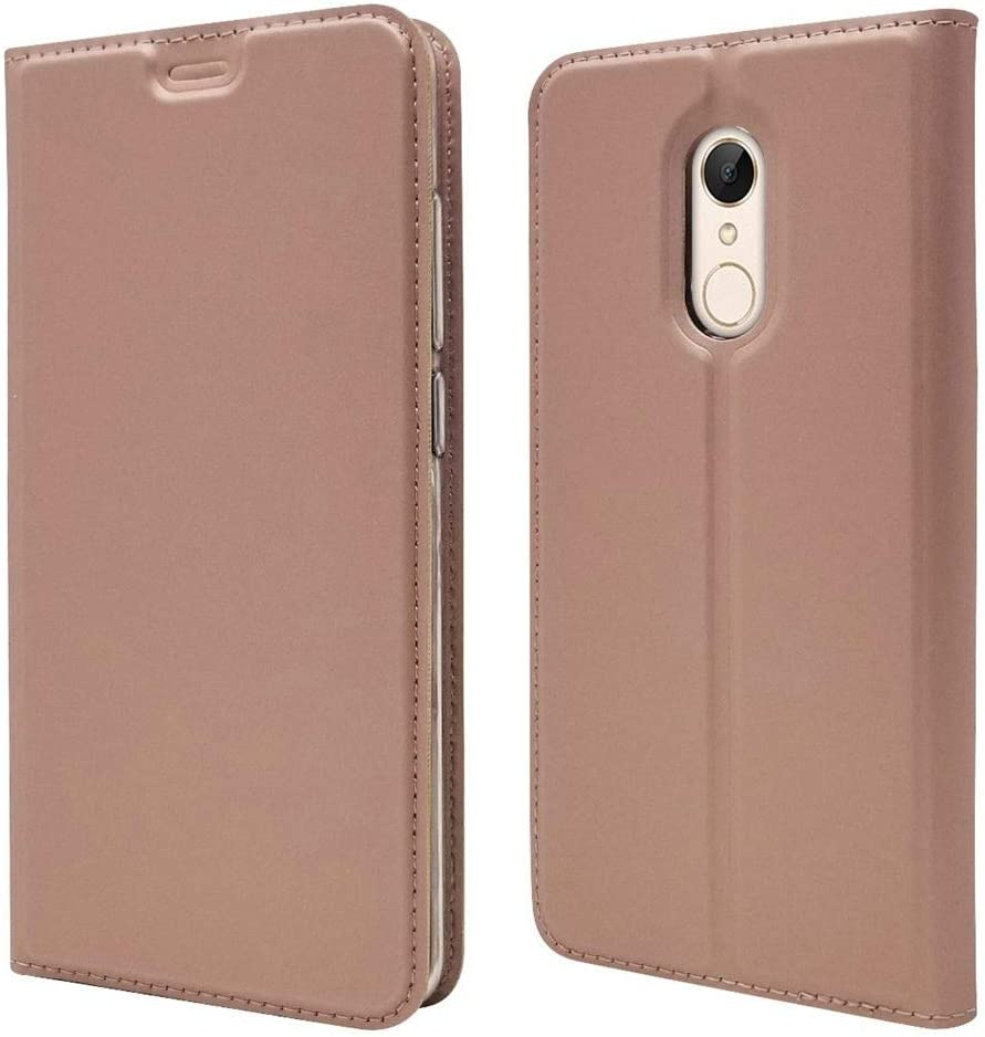 Sangrl Funda para Xiaomi Redmi 5 Plus, Libro Cuero de la PU Leather Case Soporte Plegable Premium Flip Case para Xiaomi Redmi 5 Plus - Rose Gold