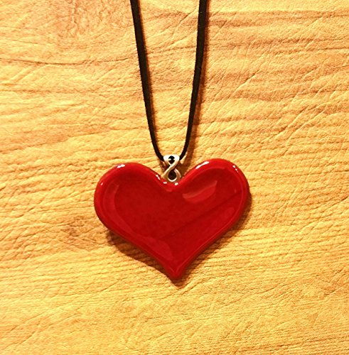 Fused Stained Glass Pendant Necklace - Heart of Glass