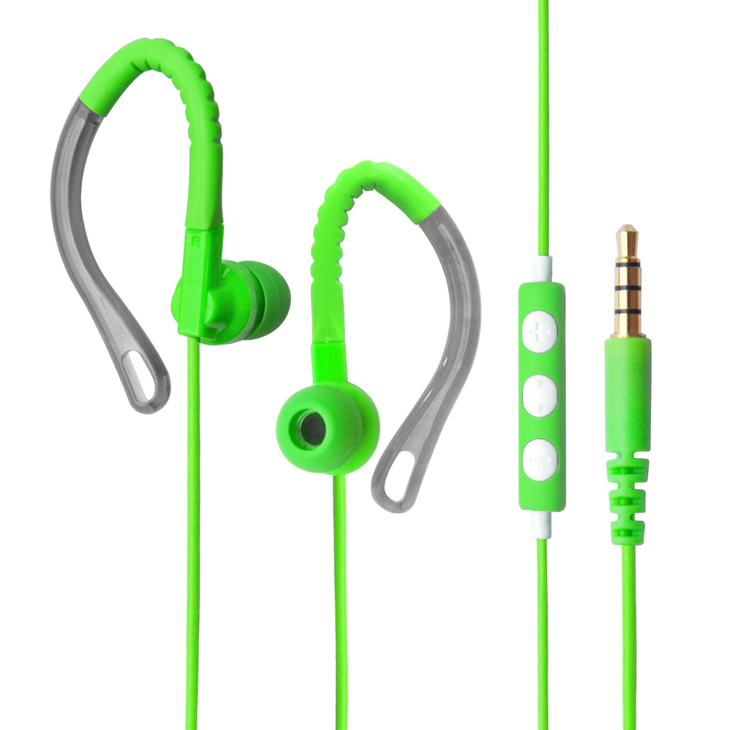 MAXROCK (TM 3.5mm Stereo Audio Headphones Running Microphone Volume Control Wired Earbuds Cellphones, Tablet.(Green) TOPTELE