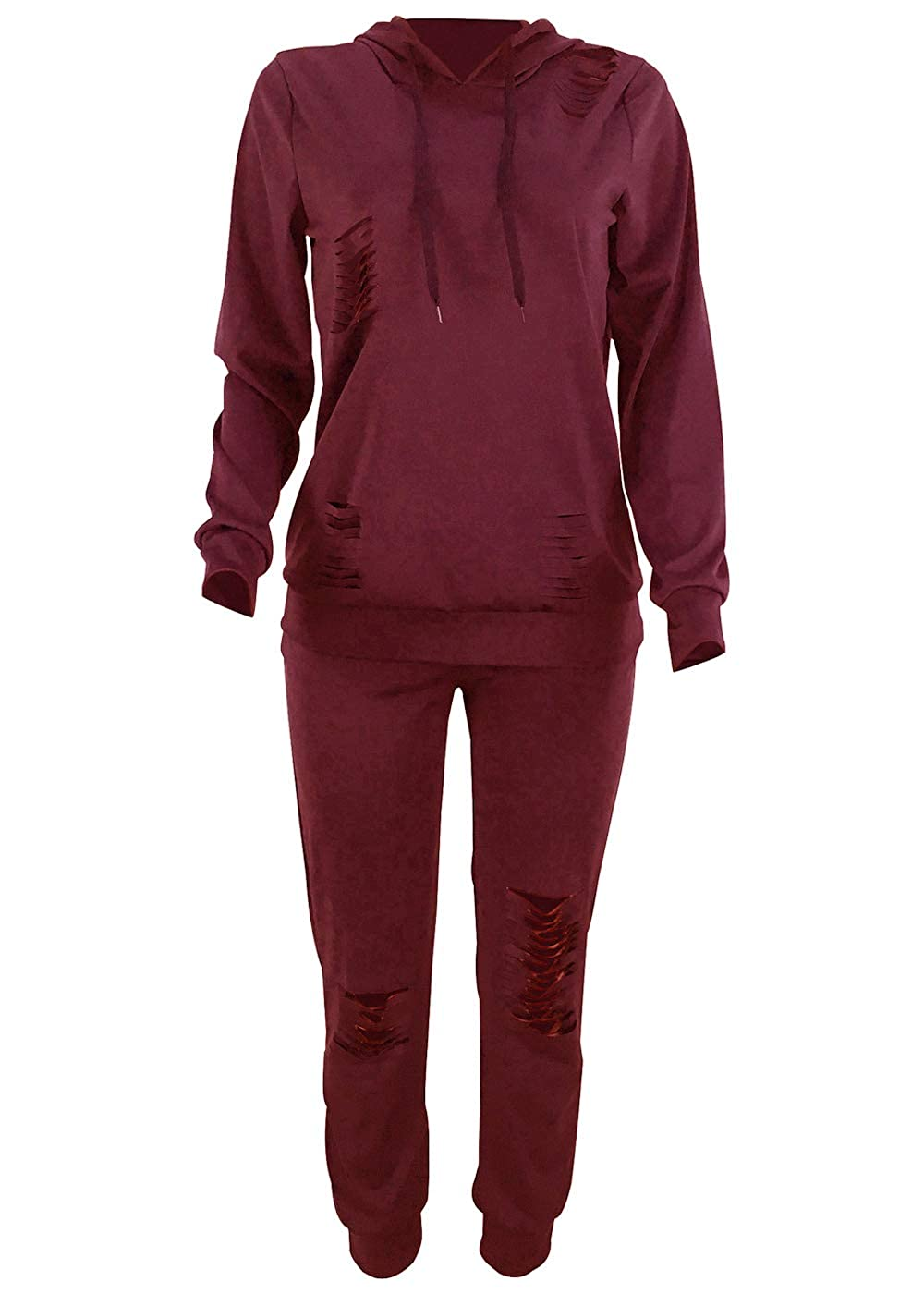 Women Casual Ripped Hole Pullover Hoodie Sweatpants 2 Piece Sport Jumpsuits Outfits Set