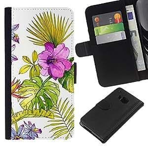 For HTC One M9 Case , Wallpaper Watercolor Fern Spring - la tarjeta de Crédito Slots PU Funda de cuero Monedero caso cubierta de piel