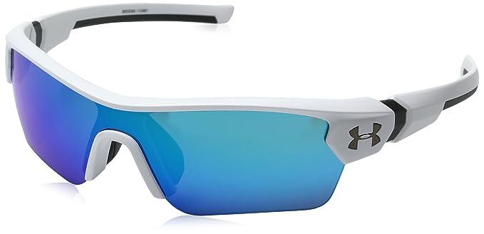 2ed15dee48e8 Amazon.com: Under Armour Wrap Sunglasses, UA MENACE SATIN WHITE/CHARCOAL  FRAME/GRAY/BLUE MULTIFLECTION LENS, YOUTH: Clothing