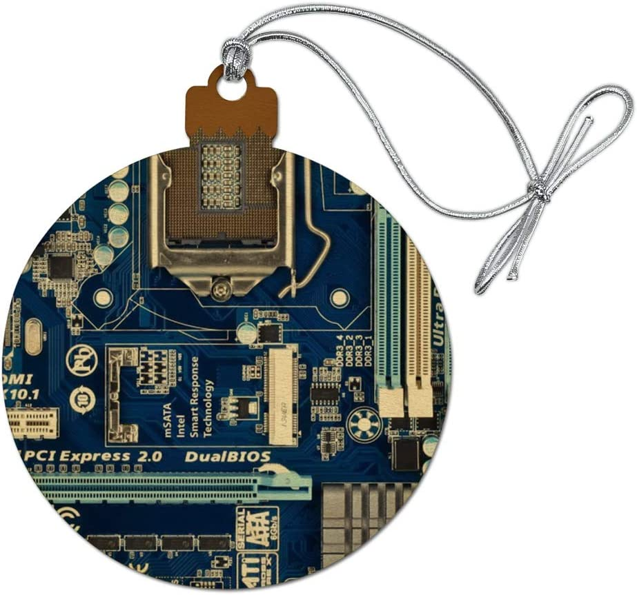GRAPHICS & MORE Blue Computer Motherboard Processor CPU Wood Christmas Tree Holiday Ornament