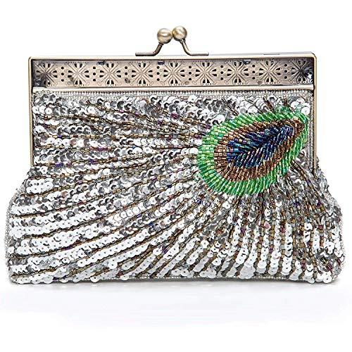 Women's Evening Bag Beaded C Embroidery Sequins Peacock Purse Rhinestone Clutch pqrp7fw