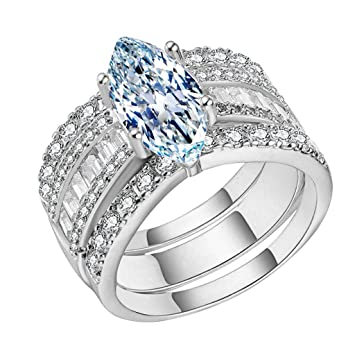 Amazon Com Tuscom Hot Sale 3 In 1 Bridal Wedding Rings Set For