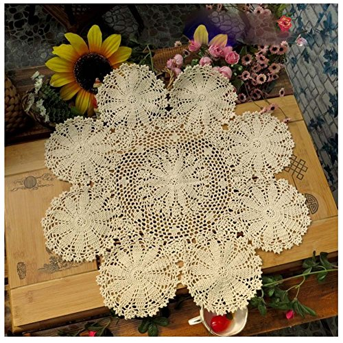 WSHINE Rural Pastorable Handmade Crochet Fresh Water Lily Pattern Pure Cotton Placemat Tablemat Table Cloth Doily (70cm, beige)