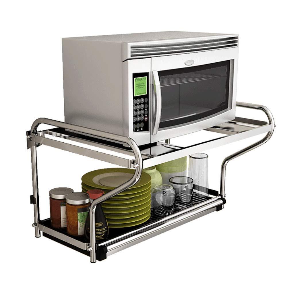 ZXUE Stainless Steel Microwave Oven Wall Mount Wall Kitchen Shelf Oven Rack Pendant Rack Kitchen Storage Rack